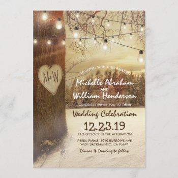 rustic xmas winter tree twinkle lights wedding invitation