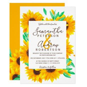 rustic yellow daisy sunflowers watercolor wedding invitation