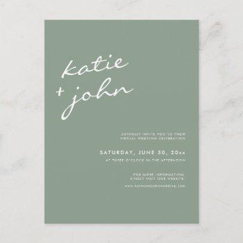 sage green calligraphy virtual wedding invitation postcard