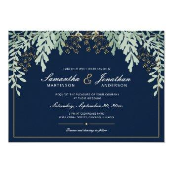sage green leaves on dark blue | wedding invitation