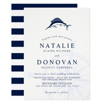 sailfish nautical wedding invitation
