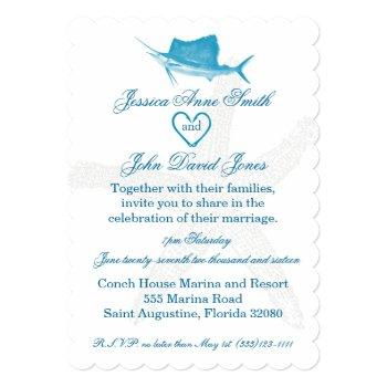 Small Sailfish Wedding Celebration Invitation Front View