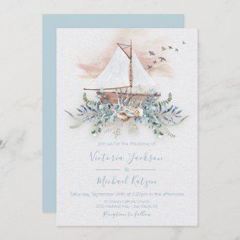 sailing boat nautical wedding invitations
