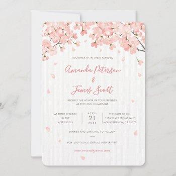sakura japanese cherry blossoms wedding invitation