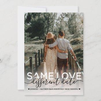 same love different date wedding typography photo announcement