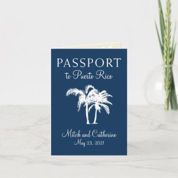 san juan puerto rico palm tree passport wedding invitation