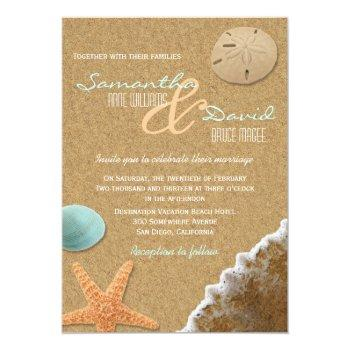 Small Sand And Shells Beach Wedding Invitation Front View