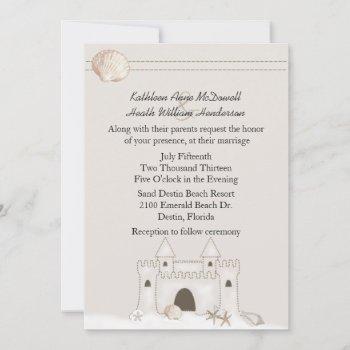 sand castle beach theme wedding invitation