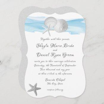 sand dollar and starfish blue caribbean beach invitation