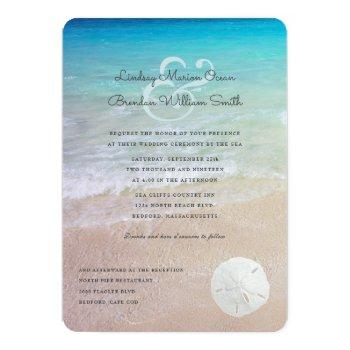 sand dollar seaside wedding modern invitation