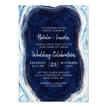sapphire blue rose gold geode agate marble wedding invitation