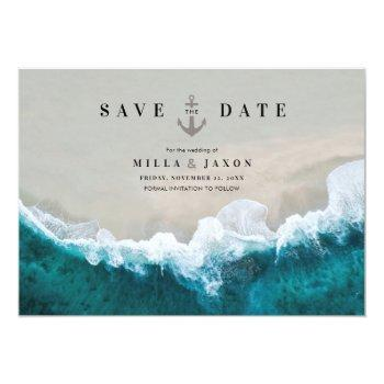 Small Save The Date Card Beach Summer Nautical Themed Front View