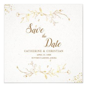 save the date golden outline flowers square invitation