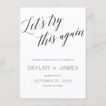 save the new date, wedding postponement card. invitation