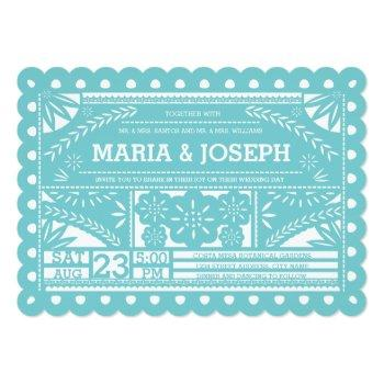 scalloped papel picado wedding blue invitation