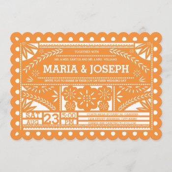 scalloped papel picado wedding invite - orange