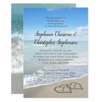 scenic hearts in the sand beach wedding invitation
