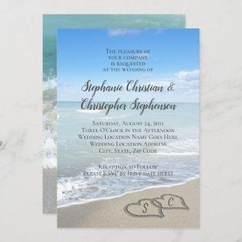 scenic hearts in the sand beach wedding invitation