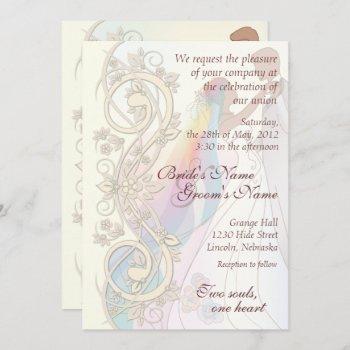 scroll rainbow bride & groom wedding invite-1b invitation