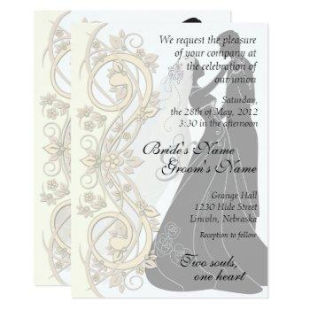 scroll silhouetted bride & groom wedding invite 1