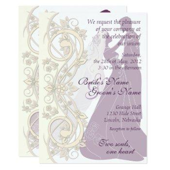 scroll silhouetted bride & groom wedding invite 2