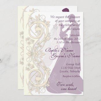 scroll silhouetted bride & groom wedding invite 2