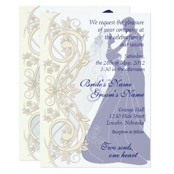 scroll silhouetted bride & groom wedding invite 3
