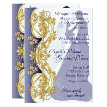 scroll silhouetted bride & groom wedding invite 3b