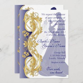 scroll silhouetted bride & groom wedding invite 3b