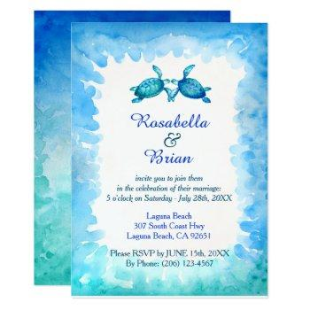 sea turtle wedding invitations - blue and green