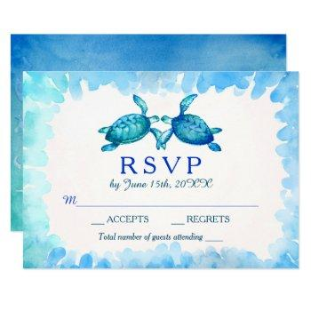 sea turtle wedding rsvp cards | blue and green