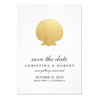 seashell faux gold foil | ocean save the date invitation
