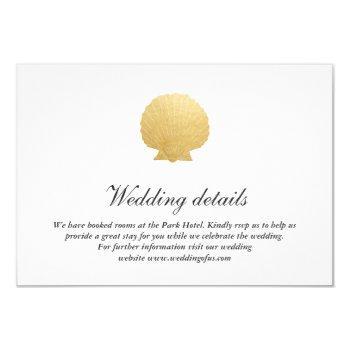 seashell faux gold foil | ocean wedding details invitation