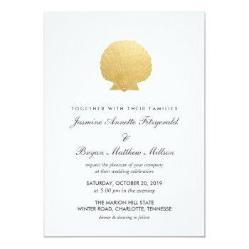 seashell faux gold foil | ocean wedding invitation