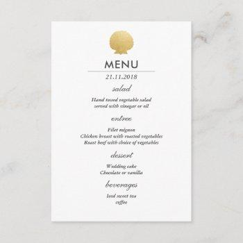 seashell faux gold foil | ocean wedding menu invitation