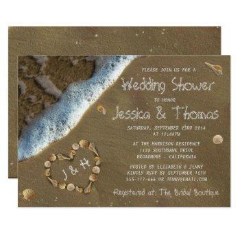 seashell heart beach wedding shower invitations