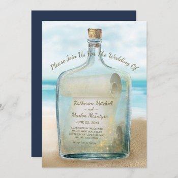 seashells message in a bottle | nautical wedding invitation