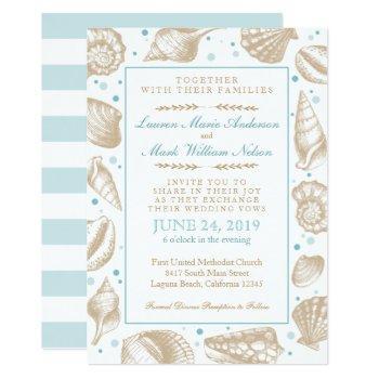 seashells nautical beach wedding aqua/tan invitation