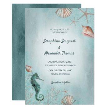 seashore | beach blue watercolor seashells wedding invitation