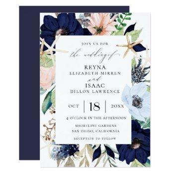 seaside botanical wedding invitation