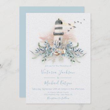 seaside lighthouse beach wedding invitations