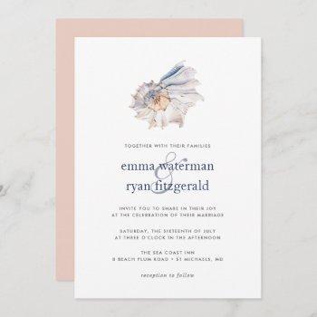 seaside | nautical seashell wedding invitation