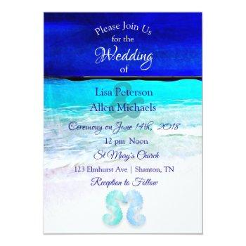 Small Seaside Seahorses Blue Beach Wedding Invitations Front View