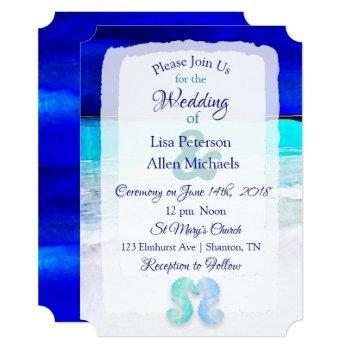 seaside seahorses blue beach wedding invitations