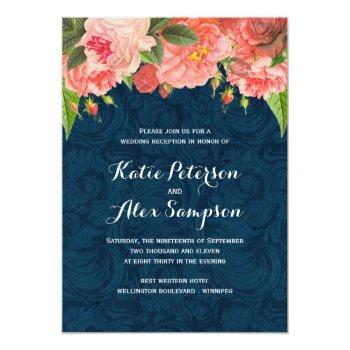 Small Shabby Chic Coral And Navy Reception Only Invite Front View