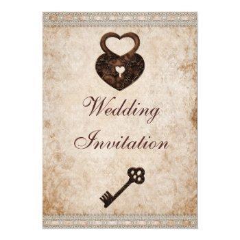 shabby chic damask hearts lock and key wedding invitation