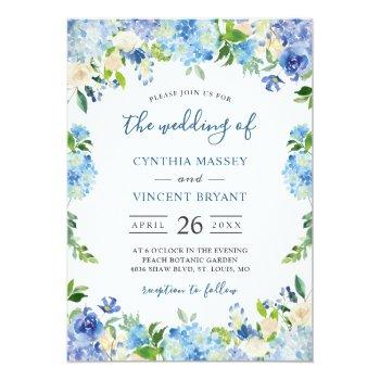 Small Shades Of Blue Hydrangeas Pastel Floral Wedding Invitation Front View