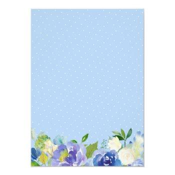 Small Shades Of Blue Hydrangeas Pastel Floral Wedding Invitation Back View