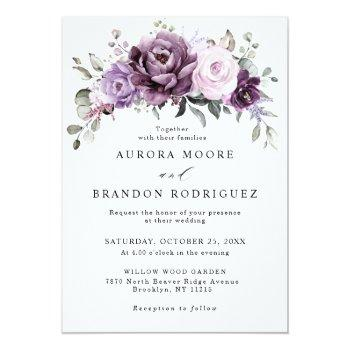 Small Shades Of Dusty Purple Blooms Moody Floral Wedding Front View