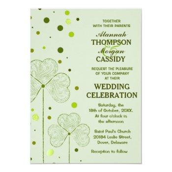 shamrock polka dots wedding invitation 2